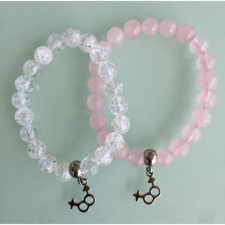 Deux Bracelets - Cristal + Quartz Rose