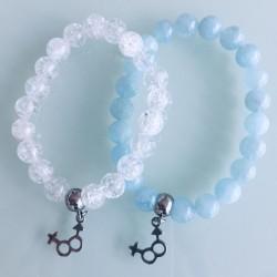 Deux Bracelets - Cristal + Aigue Marine